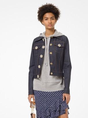 Michael Kors Jeweled-Button Denim Jacket