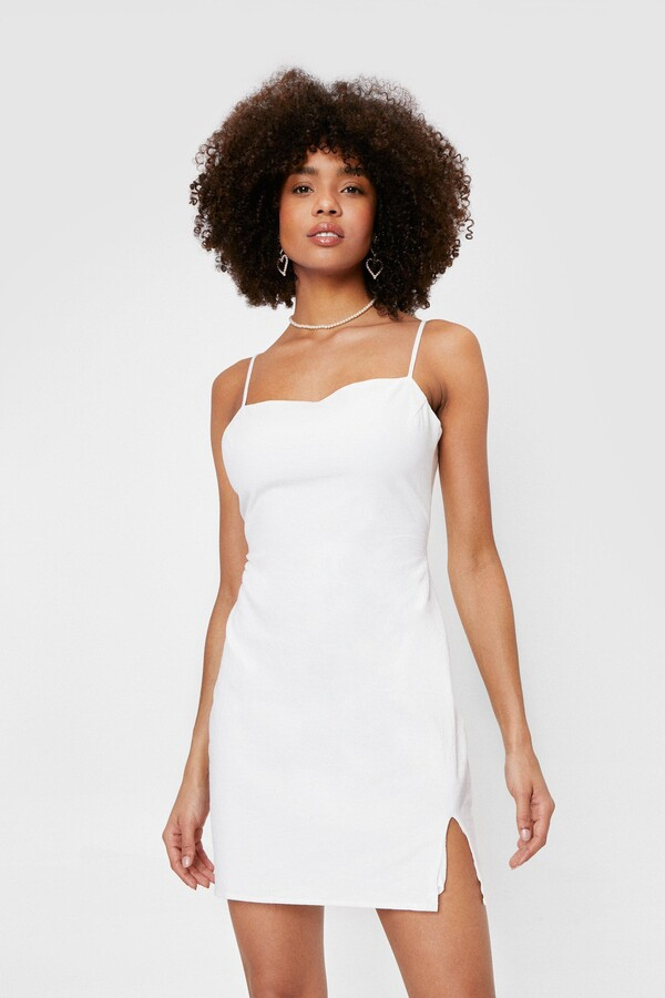 Thumbnail for your product : Nasty Gal Womens Linen Look Square Neck Mini Dress - Beige - 6