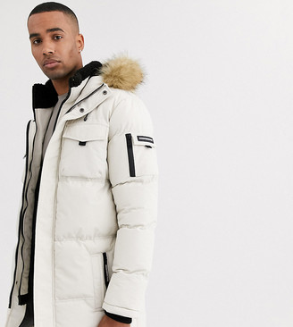 Good For Nothing puffer parka coat in stone with faux fur hood