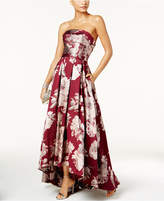 Xscape Evenings Floral-Print Brocade Strapless Gown