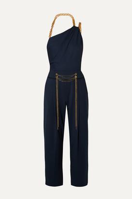 Oscar de la Renta Embellished One-shoulder Wool-blend Twill Jumpsuit - Navy