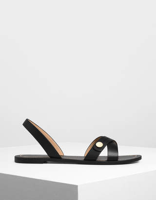 Charles & Keith Button Detail Criss Cross Sandals
