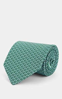 Salvatore Ferragamo Men's Gancio-Print Silk Twill Necktie - Green