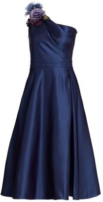 Marchesa One-Shoulder A-Line Dress