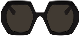 Gucci Black Hexagonal Sunglasses