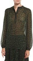 MICHAEL Michael Kors Long-Sleeve Spotted Cheetah Henley Blouse, Moss