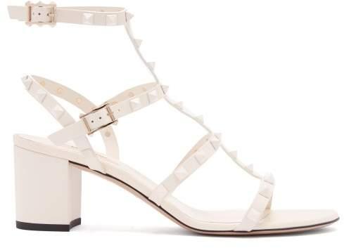 Valentino Rockstud Block Heel Leather Sandals - Womens - White