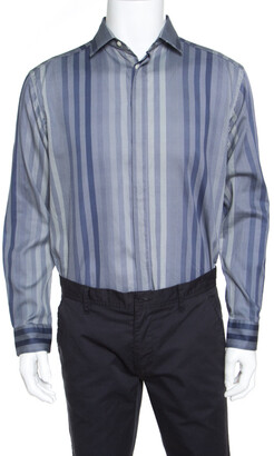Etro Patterned Stripe Printed Long Sleeve Button Front Shirt L