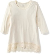 Old Navy Crochet-Hem Scoop-Neck Tee for Girls