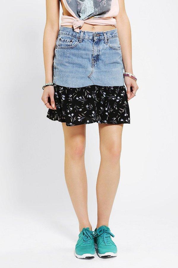Urban Outfitters Urban Renewal Denim Blossom Skirt