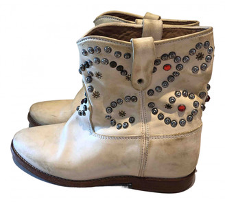 Isabel Marant Cluster White Leather Ankle boots