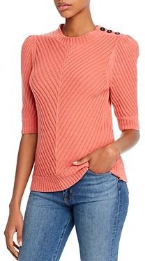 Rebecca Taylor La Vie Button Detail Chevron Ribbed Sweater