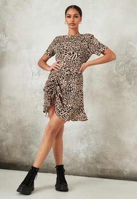 Missguided Stone Animal Print Ruched Split Tea Dress
