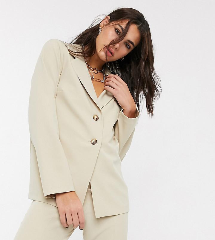 Reclaimed Vintage inspired tailored blazer in stone
