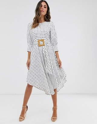 Asos Design DESIGN printed midi tea dress with asymmetric skirt and woven buckle-Multi