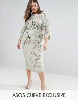 Asos Embroidered Kimono Midi Dress