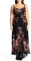 City Chic Plus Size Women's Antique Floral Chiffon High/low Maxi Dress