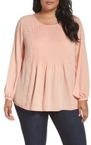 Sejour Plus Size Women's Pintuck Blouse