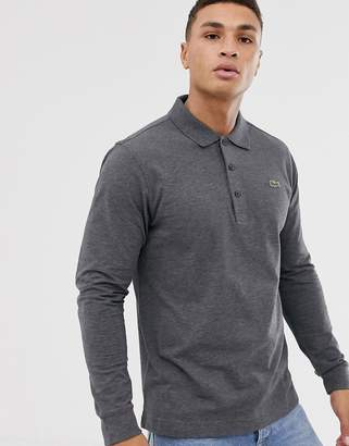 Lacoste Sport logo long sleeve polo in charcoal marl-Grey