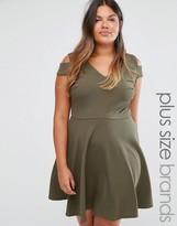 Club L Plus Skater Dress With Cold Shoulder