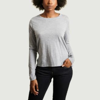 Majestic Filatures Grey Striped Crew Neck T-shirt - 2 | cotton