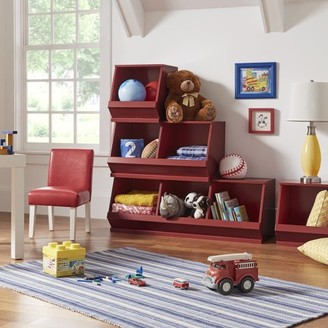 Weston Home Chelsea Lane Stackable Wood Bin Storage Cubes, Red Double Cube