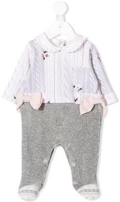 Lapin House Knitted Floral Bodysuit