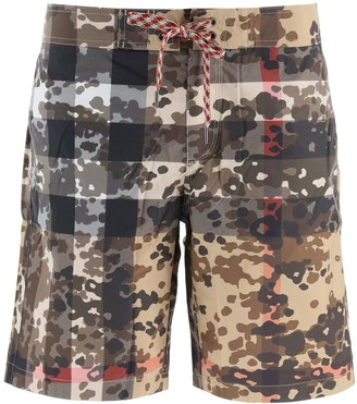 Burberry Camouflage Check Swim Shorts