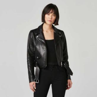 DSTLD Leather Biker Jacket in Black