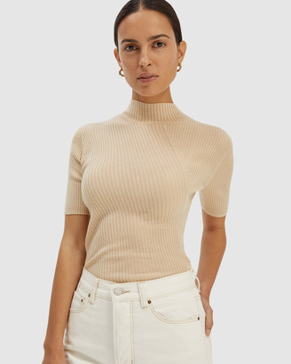 SABA Women's Short Sleeve Tops - Jac Short Sleeve Asymmetrical Rib Knit - Size One Size, L at The Iconic