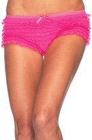 Leg Avenue Women's Micromesh Lace Ruffle Tanga Shorts