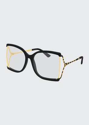 Gucci Square Sunglasses w/ Clear Lenses