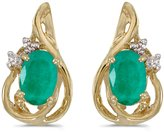 Direct-Jewelry 14k Yellow Gold Oval Emerald And Diamond Teardrop Earrings