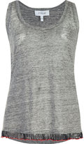 Derek Lam 10 Crosby beaded fray tank top - women - Linen/Flax - XS