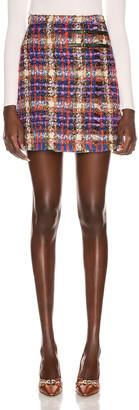 Gucci Tweed Mini Skirt in Blue & Red | FWRD
