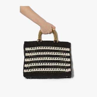 MEHRY MU Black And White Lucia Raffia Tote Bag