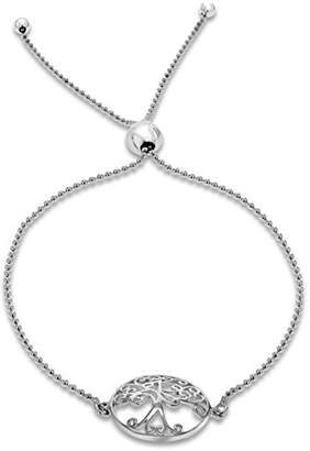 Tuscany Silver Rhodium Plated Sterling Silver Sliding Adjustable Bracelet, 23cm/9inches - 25cm/10inches