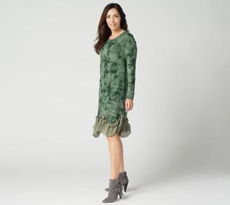 LOGO by Lori Goldstein Sweater Knit Dress w/ Ruffle Chiffon Hem