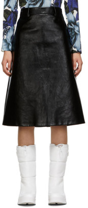 Prada Black Leather A Line Skirt