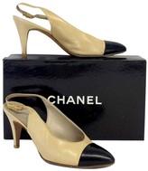 Chanel Cream & Black Leather Cap Toe Slingbacks