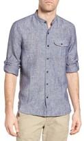 Michael Bastian Men's Band Collar Linen Sport Shirt