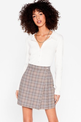 Nasty Gal Womens Typical Work Day Check Mini Skirt - Blue - 6, Blue