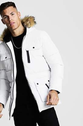 boohoo Multi Pocket Quilted Parka With Faux Fur Hood