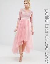 Chi Chi Petite Chi Chi London Petite Premium Metallic Lace Midi Prom Dress With Tulle Skirt