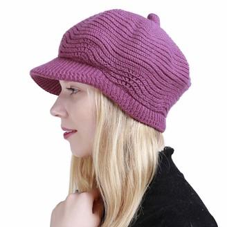 Muryobao Women's Winter Hat Slouchy Cable Knit Visor Beanie Crochet Newsboy Beret Hats Warm Snow Ski Skull Cap with Brim Rose Red