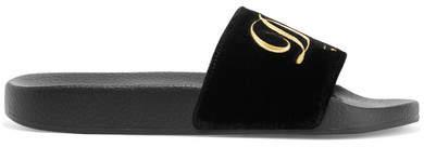 Dolce & Gabbana Embroidered Velvet Slides - Black