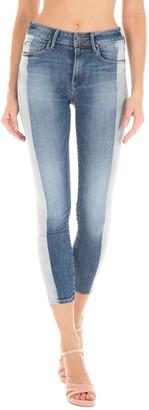 Fidelity Gwen Cropped High Rise Stripe Skinny Jeans