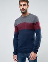 Benetton Color Block Sweater In Mohair