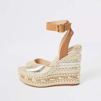 River Island Gold embellished wedge sandals