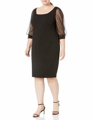 Calvin Klein Women's Plus Size Three Quarter Mesh Sleeve Sheath with Square Neckline